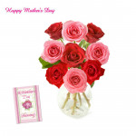 Rosy Vase - 10 Red & 10 Pink Roses in Vase and card