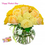 Yellow Rosy - 24 Yellow Roses Vase and card