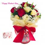 Vase Rose - 10 Red & White Roses in Vase and card