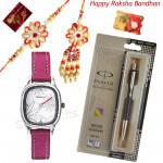 Love n Regards - Sonata Watch White Dial Pink Strap, Parker Vector Standard Ball Pen with Bhaiya Bhabhi Rakhi Pair and Roli-Chawal