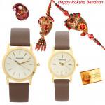 Sweet Couple Hamper - Sonata Brown Leather Analog Couple Watch with Bhaiya Bhabhi Rakhi Pair and Roli-Chawal