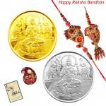 Precious Bandhan - Gold Coin, Silver Coin with Bhaiya Bhabhi Rakhi Pair and Roli-Chawal