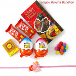 Yummy Chocolate - Kinder Joy 2 Pcs, 2 Kitkat, 1 Gems with Kids Rakhi and Roli-Chawal