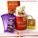 Rakhi Mug Delight - Dairy Milk 5 Pcs, Happy Rakhi Mug, Small Teddy with 1 Kids Rakhi & 1 Fancy Rakhi and Roli-Chawal