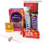 Rakhi Celebration - Mini Celebration, 2 Kitkat, Snickers, Bounty with Kids Rakhi and Roli-Chawal
