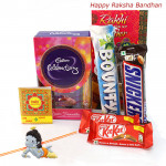 Rakhi Celebration - Mini Celebration, 2 Kitkat, Snickers, Bounty with Kids Rakhi and Roli-Chawal