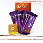 Rakhi Cadbury Treat - Cadbury Fruit n Nut 5 Pcs with 2 Fancy Rakhi and Roli-Chawal