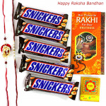 Sweet Snickers - Snickers 5 Pcs with 2 Fancy Rakhi and Roli-Chawal
