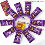 Cadbury Treat - Dairy Milk 10 Pcs with 1 Kids Rakhi & 1 Fancy Rakhi and Roli-Chawal