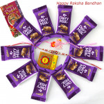 Cadbury Treat - Dairy Milk 10 Pcs with 1 Kids Rakhi & 1 Fancy Rakhi and Roli-Chawal