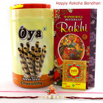 Oya Roll with Rakhi - Oya Premium Waffer Stick with 1 Kids Rakhi & 1 Fancy Rakhi and Roli-Chawal