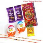 Sweet Chocolate Hamper - Kinder Joy 2 Pcs, 2 Dairy Milk with 2 Fancy Rakhi and Roli-Chawal
