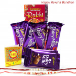 Just Dairy Milk - Dairy Milk 2 Pcs, 2 Fruit n Nut, 2 Crackle with 2 Rakhi and Roli-Chawal