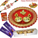 Ferrero with Thali - Ferrero Rocher 4 Pcs, Designer Ganesh Thali, 2 Dairy Milk with 2 Rakhi and Roli-Chawal