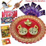 Choco Designer Thali - 5 Dairy Milk, 2 Kitkat, 1 Gems, Designer Ganesh Thali with 1 Kids Rakhi, 1 Fancy Ralhi and Roli-Chawal