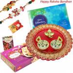 Happy Thali - Celebrations, Soan Papdi, Designer Ganesh Thali with 2 Rakhi and Roli-Chawal