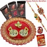 Bournville with Thali - 3 Bournville, Designer Ganesh Thali with 2 Rakhi and Roli-Chawal