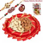 Crispy n Crunchy Thali - Almond & Cashew, Decorative Thali (R) with 2 Rakhi and Roli-Chawal