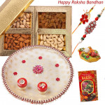 Dry Fruits with Leaf - Assorted Dry Fruit Box, Puja Thali (W) with 2 Rakhi and Roli-Chawal