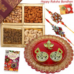 Dry Fruits with Designer Thali - Assorted Dry Fruit Box, Designer Ganesh Thali with 2 Rakhi and Roli-Chawal