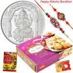 All Time Favourite - Ganesh Silver Coin 10 Gms, Soanpapdi with 2 Rakhi and Roli-Chawal
