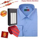 Smart Hamper - Peter England Full Sleeve Blue Shirt (Choose Size), Tie, 3 Hanky with 2 Rakhi and Roli-Chawal