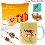 Mug N Cushion - Happy Rakshabandhan Cushion (12 inches X 12 inches), Happy Rakshabandhan Mug with 2 Rakhi and Roli-Chawal