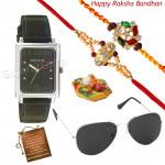 Attractive Hamper - Sonata Watch Silver Dial, Sunglasses with 2 Rakhi and Roli-Chawal