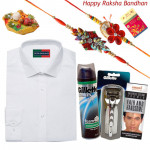 Specially for Him - Peter England Full Sleeve White Shirt (Choose Size), Gillette Vector Razor, Gillette Shaving Foam, Handsome Cream with 2 Rakhi and Roli-Chawal