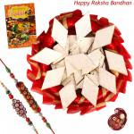 Kaju Katli Decorative Thali - Kaju Katli, Decorative Thali (R) with 2 Rakhi and Roli-Chawal