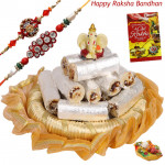 Sweet Delight Thali - Kaju Anjir Roll, Decorative Thali (G), Ganesh Idol with 2 Rakhi and Roli-Chawal