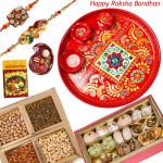 Special Rakhi Thali - Kaju Mix, Assorted Dry Fruit 200 gms, Meenakari Thali 6 inch with 2 Rakhi and Roli-Chawal