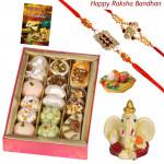 Sweet & Divine - Kaju Mix, Ganesh Idol with 2 Rakhi and Roli-Chawal