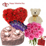 """Royal Heart - Heart Shape Arrangement 30 Red Roses, 15 Pink Roses Bunch, Heart Shape Chocolate Cake 1 kg, Teddy 6"""", 5 Dairy Milk 20 gms and Card"""