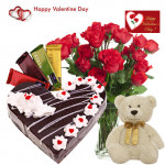 """Couple Combo - 20 Roses in Vase, 4 Temptations, Teddy 6"""", Heart Shape Black Forest Cake 1 kg and Card"""