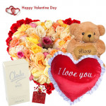 "Fragrance of Love - 50 Mix Roses Heart Shape Arrangement, Heart Shape Pillow 8"", Teddy 12"", Charlie White Perfume and Card"