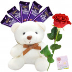 Teddy Rose - Small Teddy, 1 Artificial Red Rose, 5 Dairy Milk & Card