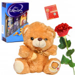 Teddy With Chocolate Rose - Small Teddy, Mini Clebration, 1 Artificial Red Rose & Card
