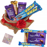 Chocolates Basket - Decorative Red Basket, 10 Mini Cadbury Bars & Card