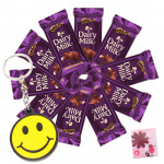 Chocolaty Smiley - Smiley Keychain, 10 Dairy Milk & Card