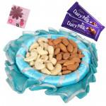Kaju Badam Thali - Kaju Badam 100 gms, Decorative Thali, 2 Dairy Milk and Card