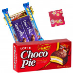Chocopie n Cadbury Bars - Lotte Chocopie 168 gms, 5 Mini Cadbury Bars & Card