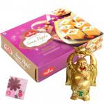 Good Luck Sweets - Small Laughing Buddha, Haldiram Soan Papdi 250 gms and Card
