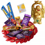 Laughing Buddha with Chocolates - 10 Mini Cadbury Chocolates Bars, Laughing Buddha & Card