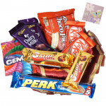 Choco Thali - Decorative Thali, 5 Mini Cadbury Bars, 2 Kitkat, Chocopie, Gems & Card