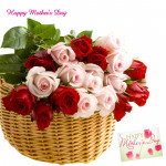 Basket of Love - 20 Red & Pink Roses Basket and Mother's Day Greeting Card