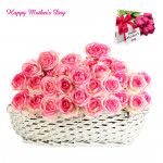 Pinky Mother - 30 Pink Roses Basket and Mother's Day Greeting Card