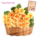 Yellow Basket - 25 Yellow Roses Basket and Mother's Day Greeting Card