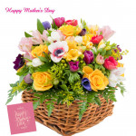 Amazing Basket - 25 Seasonal Flowers Basket and Mother's Day Greeting Card