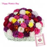 Attractive Gerberas - 20 Mix Gerberas Basketand Mother's Day Greeting Card